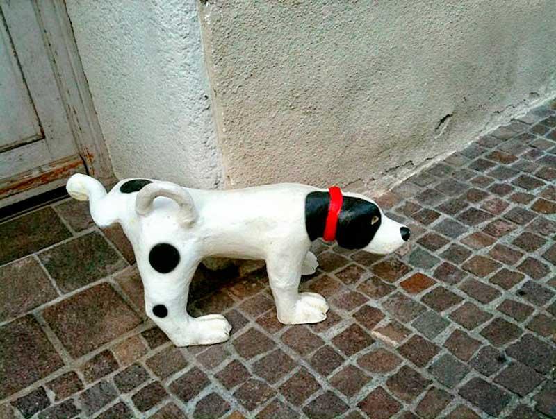 perro de ceramica orinando en esquina